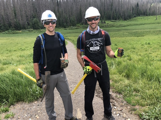 Fourpoints bar co-founders Kevin and Patrick Webber at Wolf Creek Pass taking a break from trail maintenance of their adopted section of the Continental Divide Trail in Colorado.