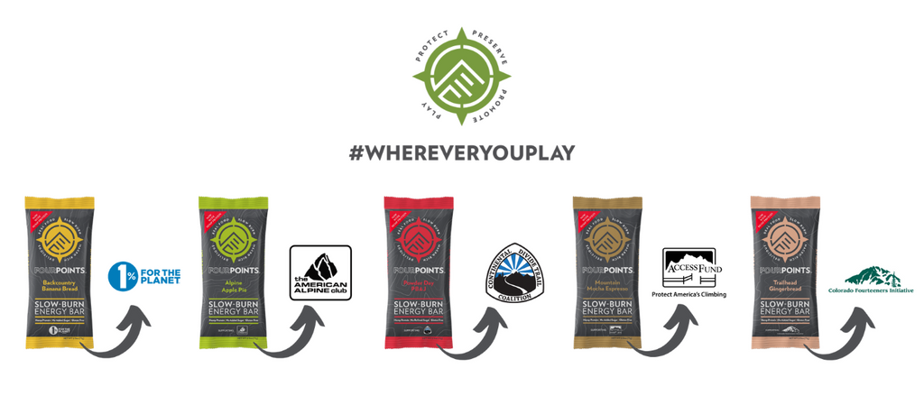 Fourpoints Bars with 1% for the planet, American Alpine Club, Continental Divide Trail Coalition, Access Fund, and Colorado Fourteener Initiative