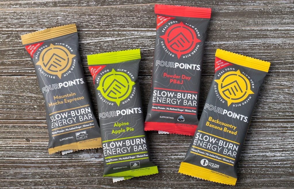 Fourpoints slow burn energy bars made with prunes and hemp. Fourpoints bars made with prunes and whey isolate.