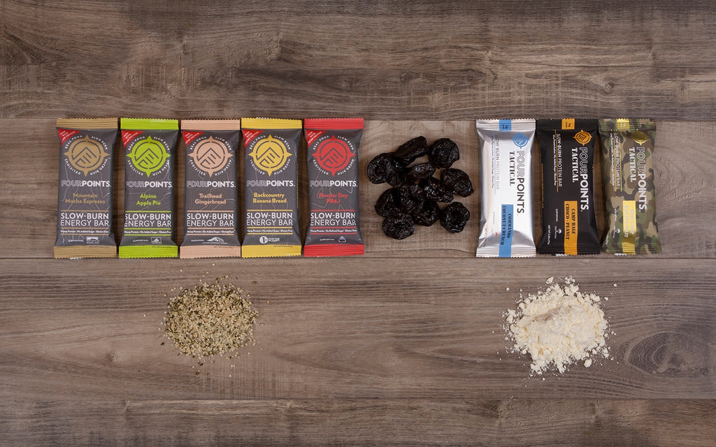Fourpoints slow burn energy bars made with prunes and hemp. Fourpoints tactical protein bars made with prunes and whey isolate.