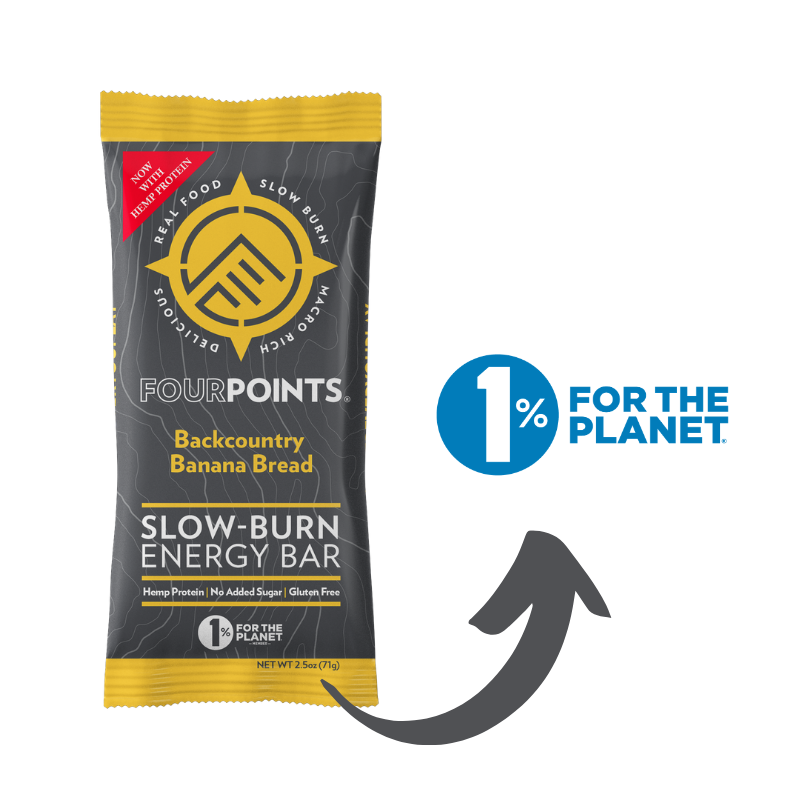 Fourpoints Slow-Burn Energy Bar, Backcountry Banana Bread.  1% for the planet.