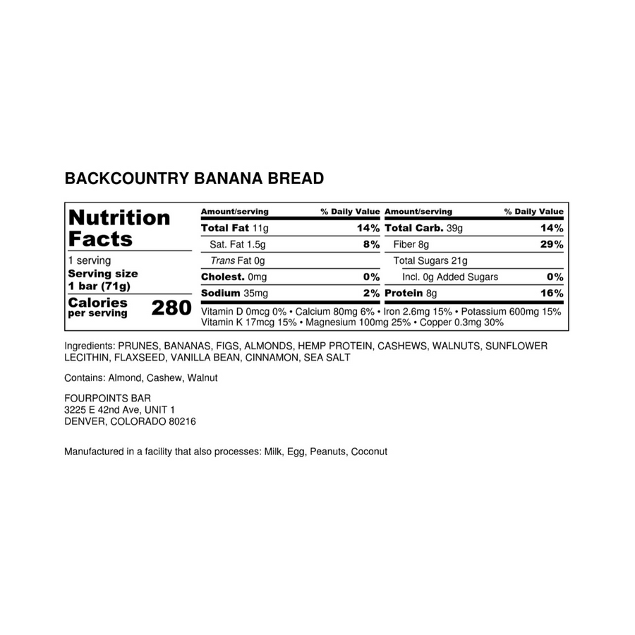 Fourpoints Energy Bar, Backcountry Banana Bread.  Nutrition facts and ingredients label.