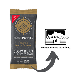 Fourpoints Slow-Burn Energy Bar, Mountain Mocha Espresso.  Supporting Access Fund..