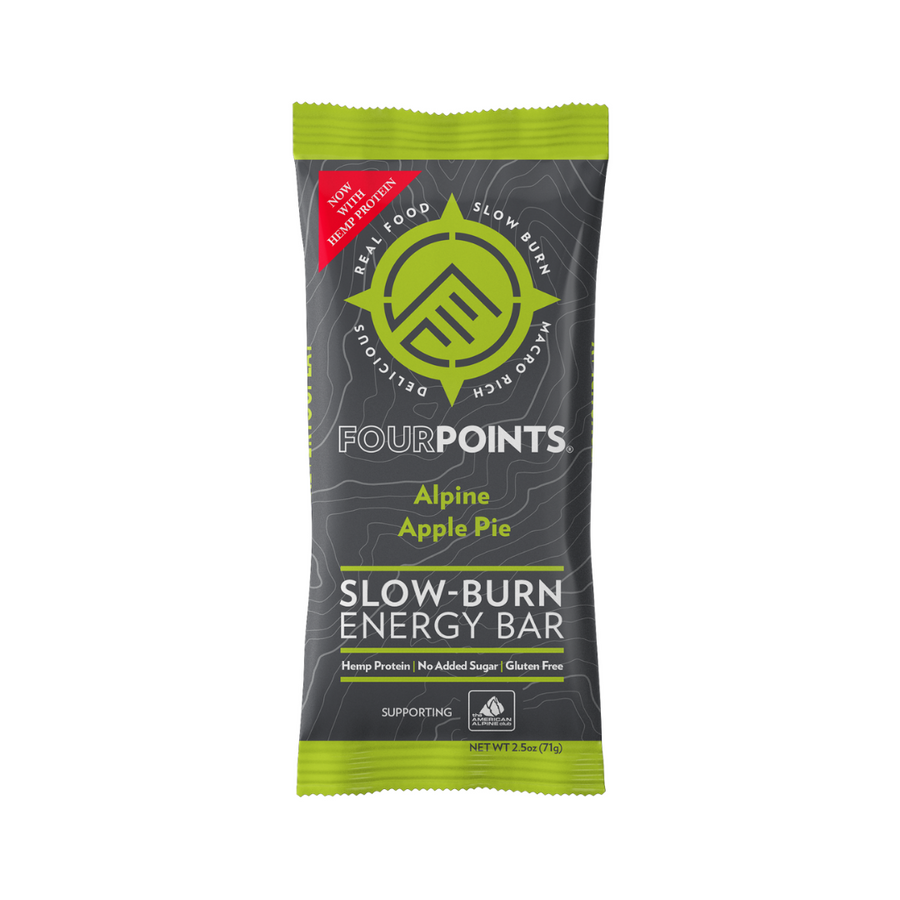 Fourpoints Slow-Burn Energy Bar, Alpine Apple Pie.  Powered by low-glycemic prunes and hemp protein.