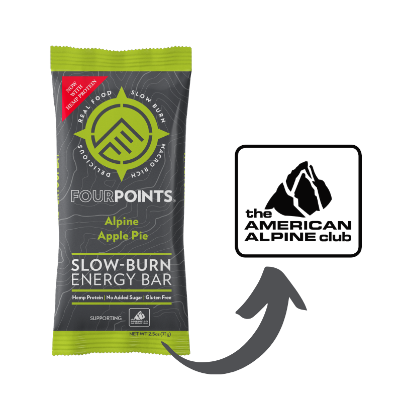 Fourpoints Slow-Burn Energy Bar, Alpine Apple Pie.  Every purchase supports the American Alpine Club.