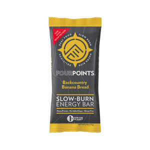 Fourpoints Slow-Burn Energy Bar, Backcountry Banana Bread.  Powered by low-glycemic prunes.