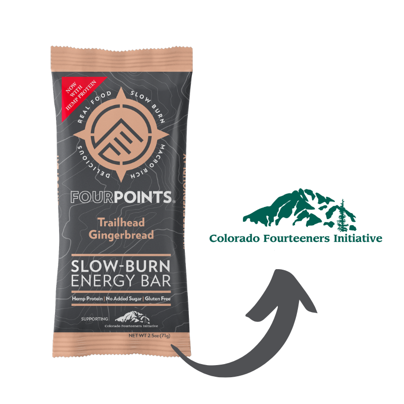 Fourpoints Slow-Burn Energy Bar, Trailhead Gingerbread.  Supporting Colorado Fourteener Initiative.