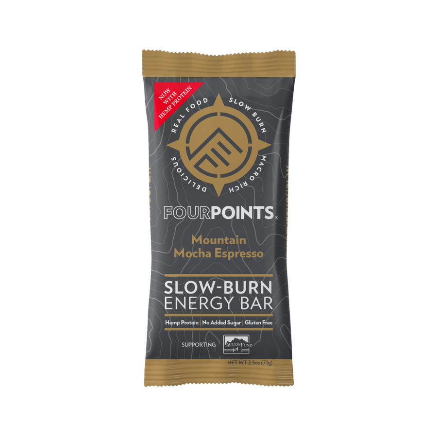 Fourpoints Slow-Burn Energy Bar, Mountain Mocha Espresso.  Powered by low-glycemic prunes