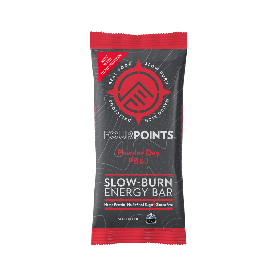 Fourpoints Slow-Burn Energy Bar, Powder Day PB&J.  Powered by low-glycemic prunes