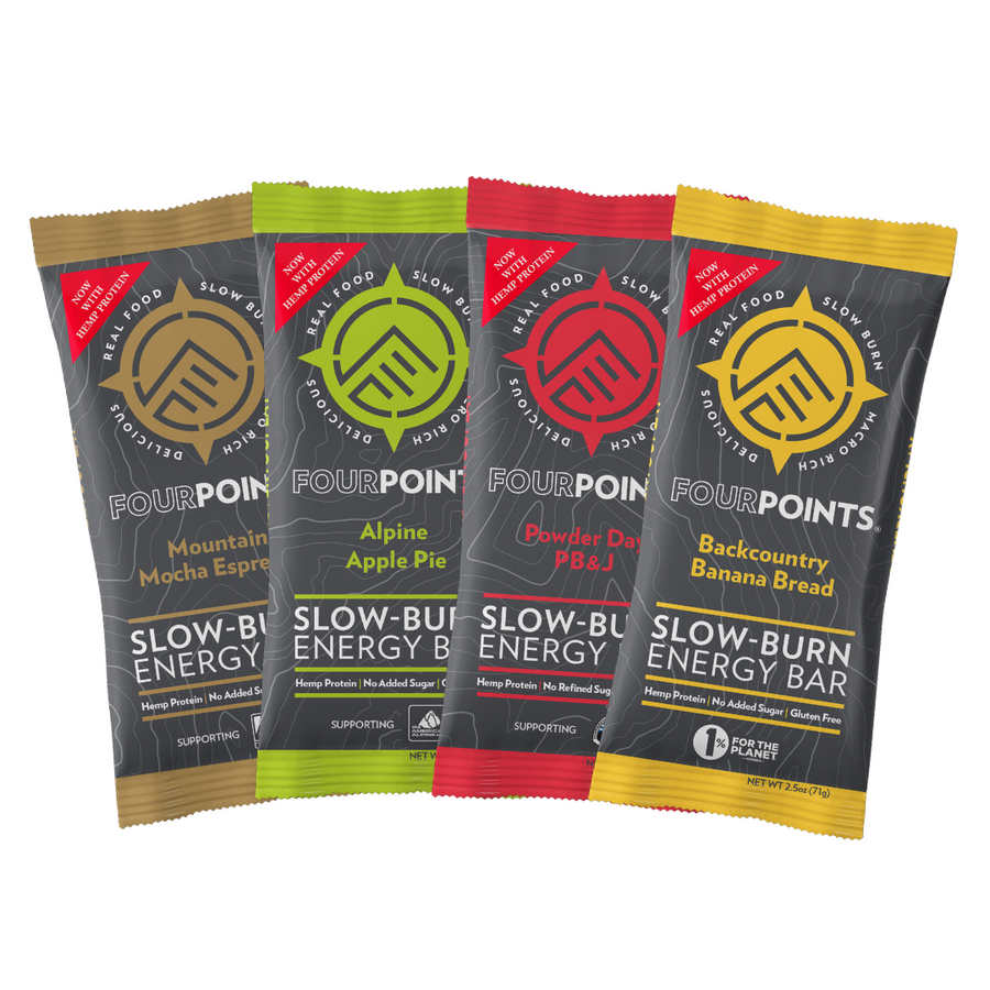 Fourpoints Slow-Burn Energy Bar, 4-Bar sample pack.  Powered by low-glycemic prunes