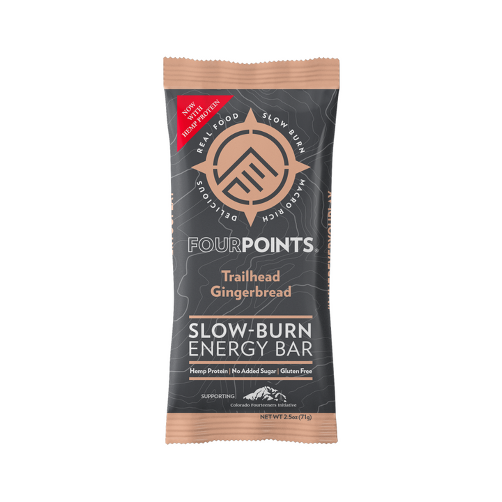 Fourpoints Slow-Burn Energy Bar, Trailhead Gingerbread.  Powered by low-glycemic prunes