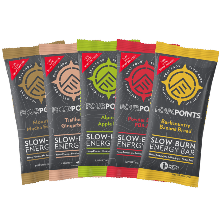 Fourpoints Slow-Burn Energy Bar, 12-bar variety box.  Powered by low-glycemic prunes