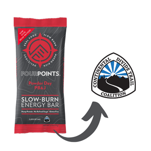 Fourpoints Slow-Burn Energy Bar, Powder Day PB&J.  Continental Divide Trail Coalition