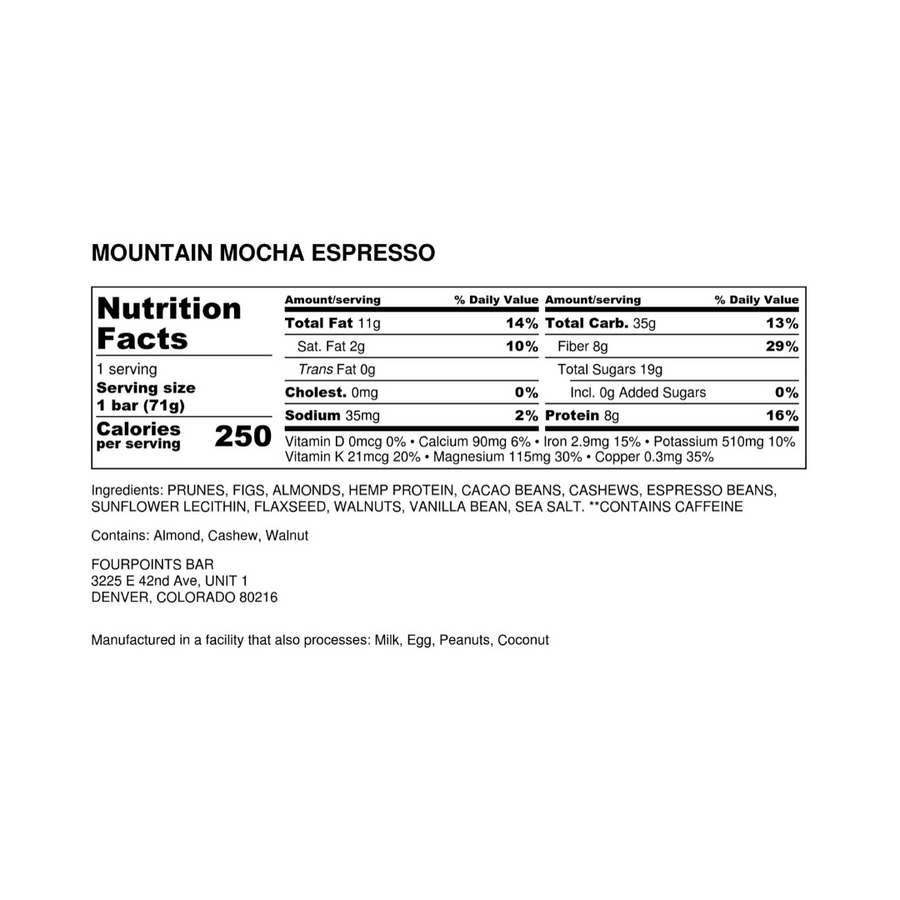Fourpoints Energy Bar, Mountain Mocha Espresso.  Nutrition facts and ingredients label.