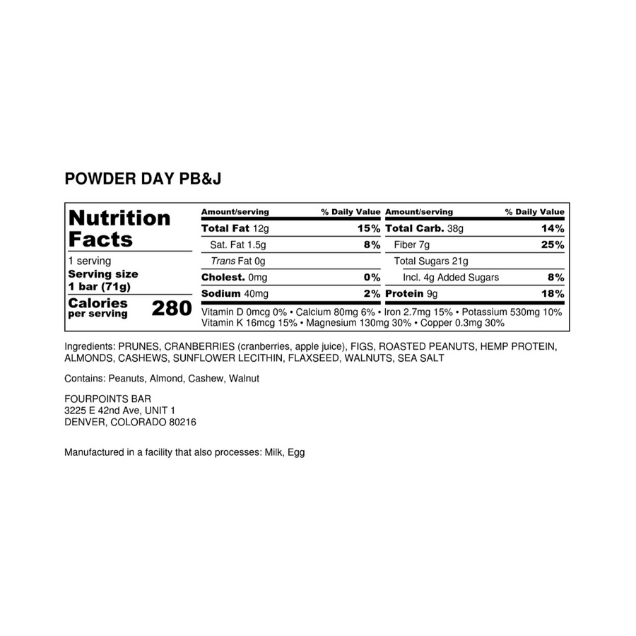 Fourpoints Energy Bar, Powder Day PBJ.  Nutrition facts and ingredients label.