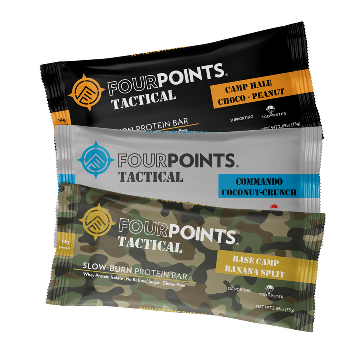 Fourpoints Tactical Slow-Burn Protein Bar, 3-bar sample pack.  Powered by low-glycemic prunes