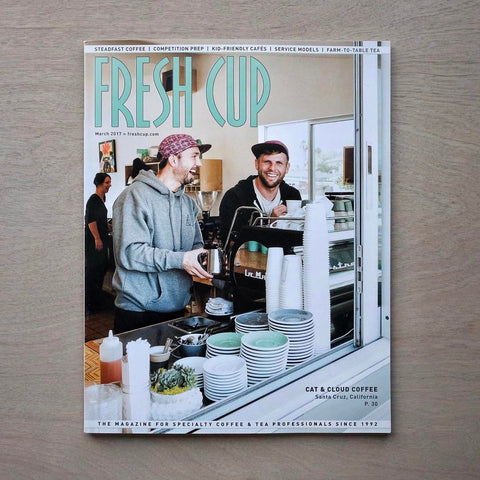 Cat & Cloud on the cover of Fresh Cup magazine