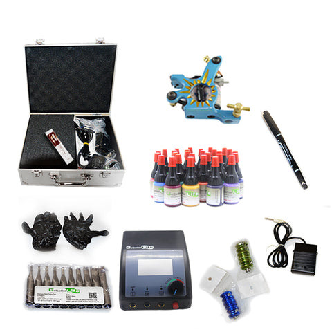 Professional Tattoo Kit with 1 Machine  CE Tattoo Power Supply 28 Color 5ML Inks KC1G1G