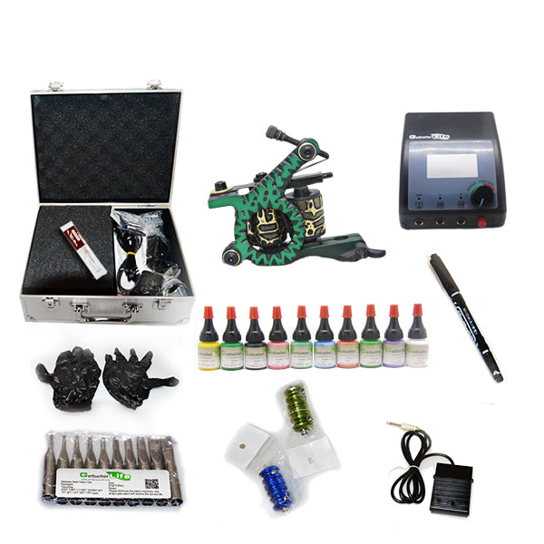 Tattoo Kit  with 1 Machine  CE Power Supply 10 Color 5ML Inks KC1C1E