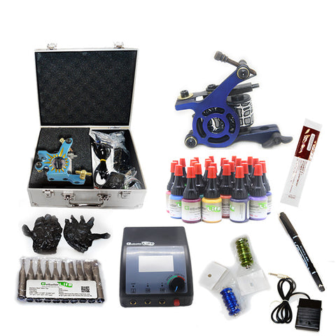 Professional Tattoo Kit  with 2 Machine CE Power Supply 28 Color 5ML Inks KC2G1C