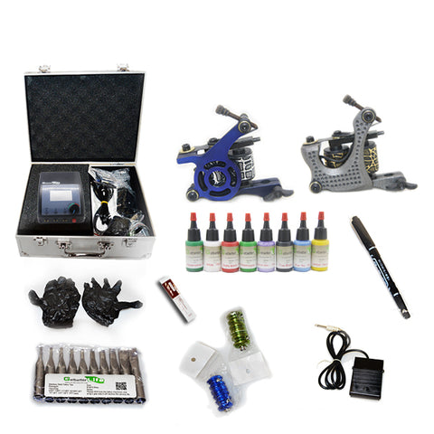 Professional Tattoo Kit with 2 Machine  CE Tattoo Power Supply 8 Color 15ML Inks KC2B1F