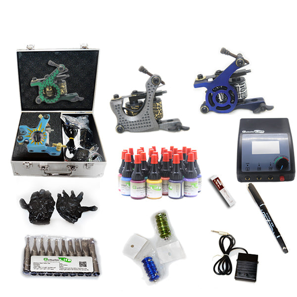 Professional Tattoo Kit  with 4 Machine  CE Power Supply 28 Color 5ML Inks KC4G1