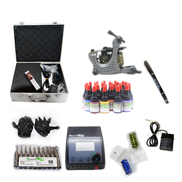 Professional Tattoo Kit with 1 Machine  CE Tattoo Power Supply 28 Color 5ML Inks KC1G1F