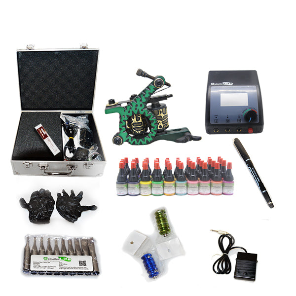 New Tattoo Kit  with 2 Machine  CE Power Supply 40 Color Inks KC1H1B