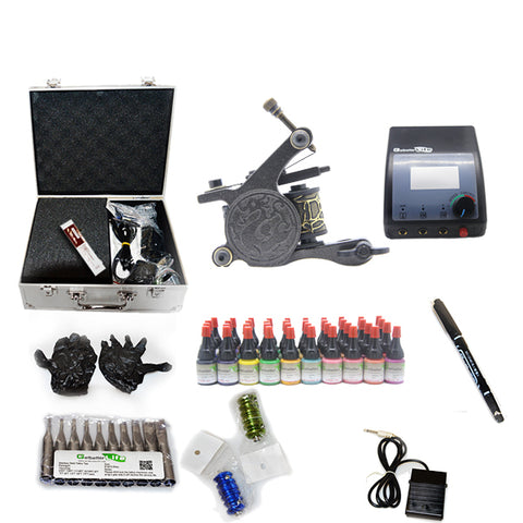 New Professional Tattoo Kit  with 1 Machine  CE Power Supply 40 Color Inks KC1H1F