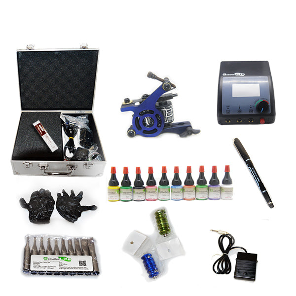 Professional Tattoo Kit  with 1 Machine  CE Power Supply 10 Color 5ML Inks KC1C1F