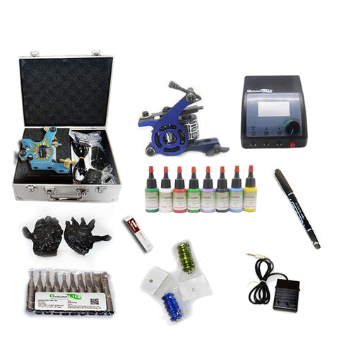 Professional Tattoo Kit with 2 Machine  CE Tattoo Power Supply 8 Color 15ML Inks KC2B1A