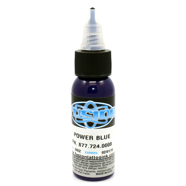"Fusion Tattoo Ink ""Power Blue"" 1 Oz Bottle 100% Authentic"
