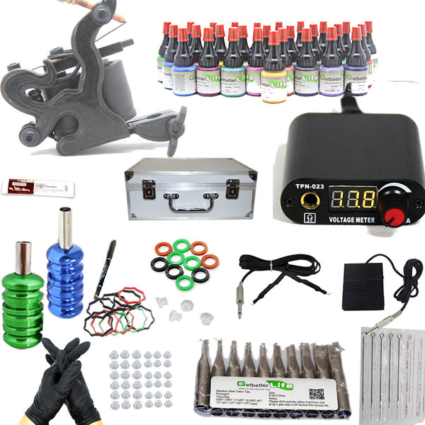 Professional Tattoo Kit  with 1 Machine  CE Power Supply 28 Color 5ML Inks KM1G1