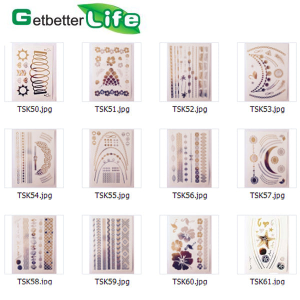 2015 New Design Gold and Silver Metallic Temporary Tattoo Flash TSK50-61