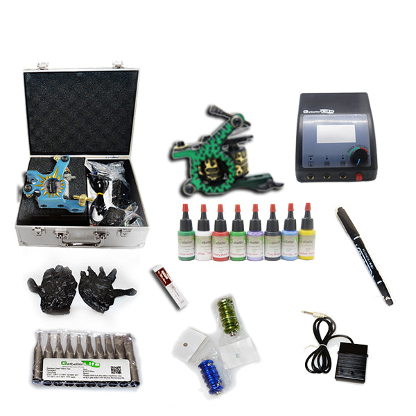 New Professional Tattoo Kit  with 2 Machine  CE Power Supply 40 Color Inks KC2C1