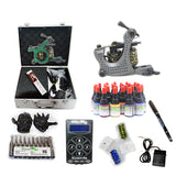 Professional Tattoo Kit with 2 Machine  LCD Tattoo Power Supply 8 Color 15ML Inks KH2G1A