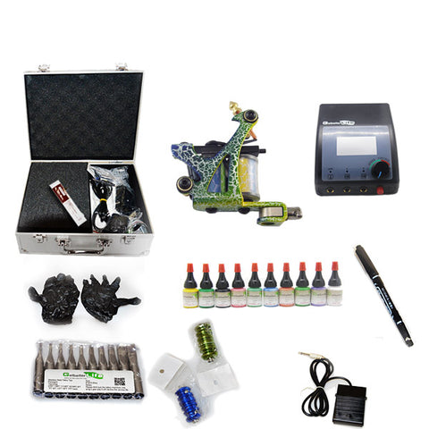 Professional Tattoo Kit  with 1 Machine  CE Power Supply 10 Color 5ML Inks KC1C1B