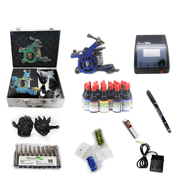 Professional Tattoo Kit  with 3 Machine  CE Power Supply 28 Color 5ML Inks KC3G1A