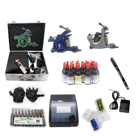 Professional Tattoo Kit  with 3 Machine  CE Power Supply 28 Color 5ML Inks KC3G1B