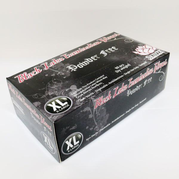 Black Latex Examination Gloves, Powder Free Non-Sterile Disposable Ambidextrous,Sizes Extra Large X-Large,90 gloves/Box
