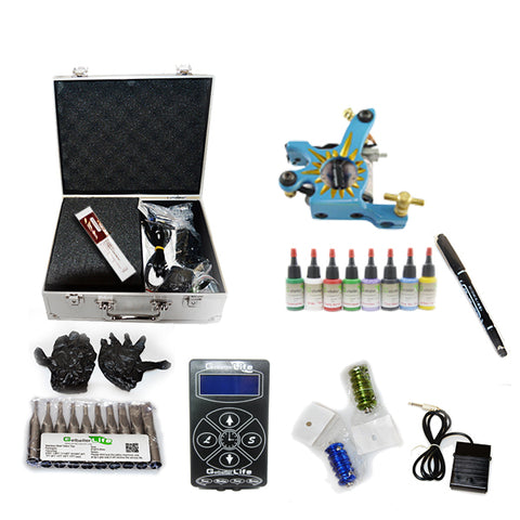 Professional Tattoo Kit with 1 Machine LCD Tattoo Power Supply 8 Color 15ML Inks KH1B1