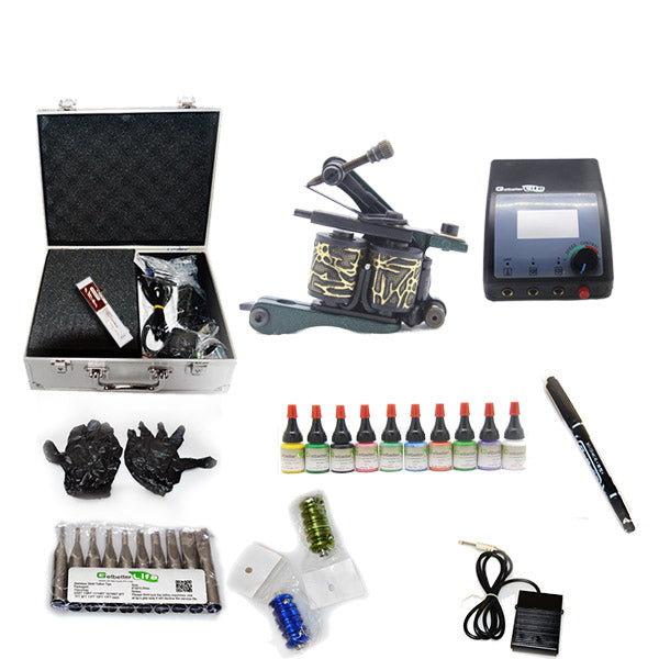 Professional Tattoo Kit  with 1 Machine  CE Power Supply 10 Color 5ML Inks KC1C1