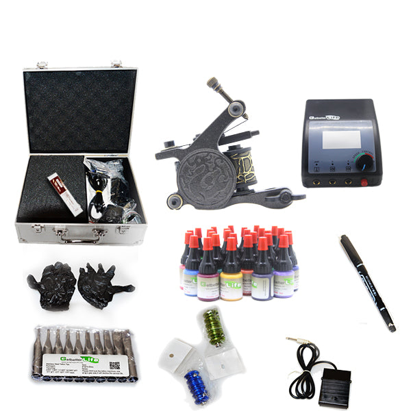 New Professional Tattoo Kit  with 1 Machine  CE Power Supply 28 Color Inks KC1G1C
