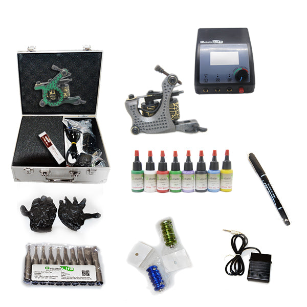 Professional Tattoo Kit with 2 Machine  CE Tattoo Power Supply 8 Color 15ML Inks KC2B1D
