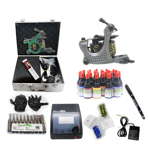 Professional Tattoo Kit  with 2 Machine  CE Power Supply 28 Color 5ML Inks KC2G1B