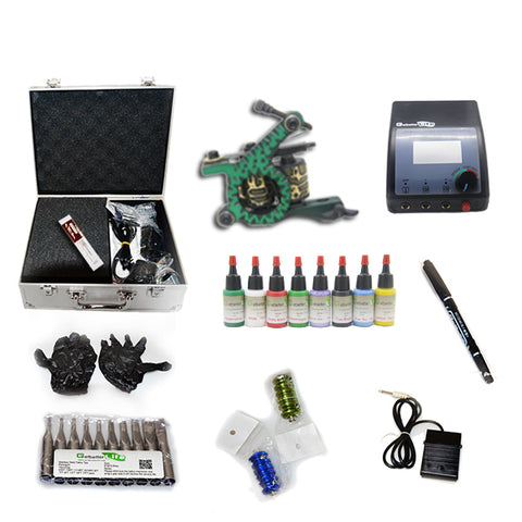 Professional Tattoo Kit with 1 Machine  CE Tattoo Power Supply 8 Color 15ML Inks KC1B1D