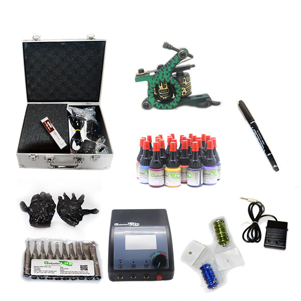 Professional Tattoo Kit with 1 Machine  CE Tattoo Power Supply 28 Color 5ML Inks KC1G1E