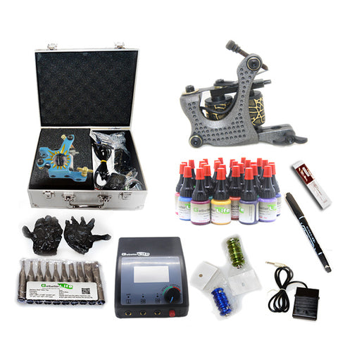 Professional Tattoo Kit  with 2 Machine  CE Power Supply 28 Color 5ML Inks KC2G1A
