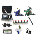 New Professional Tattoo Kit  with 2 Machine  CE Power Supply 40 Color Inks KC2C1B