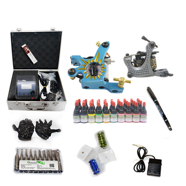 New Tattoo kit  with 2 machine CE Power Supply 40 color inks KC2H1B
